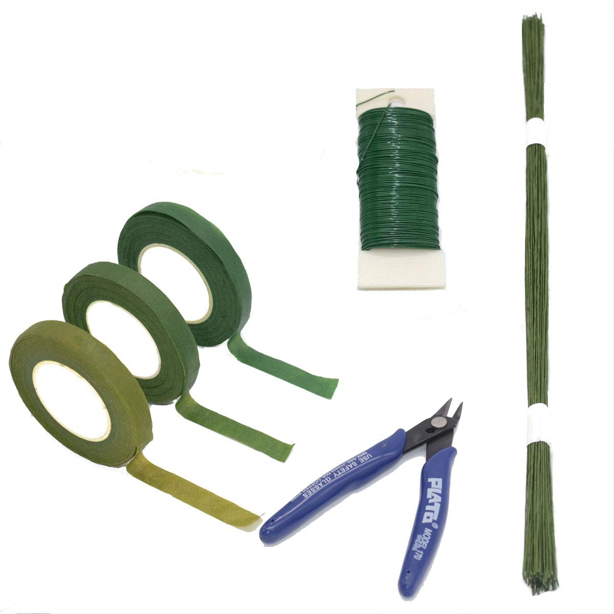 Floral Arrangement Kit Flower Supplies Tool with Wire Cutter Floral Tape Green Floral Steam Wire 22 Gauge and 26 Gauge Green for Bouquet Stem Wrap Florist