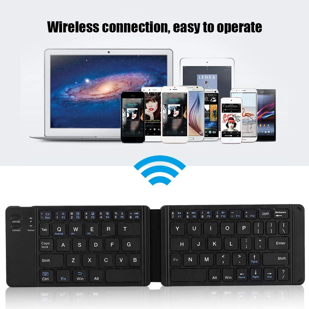 Folding Keyboard with 66 Keys,Portable Universal Foldable Wireless Bluetooth Keyboard Durable and Resistance,Compact Keyboard Long Standby