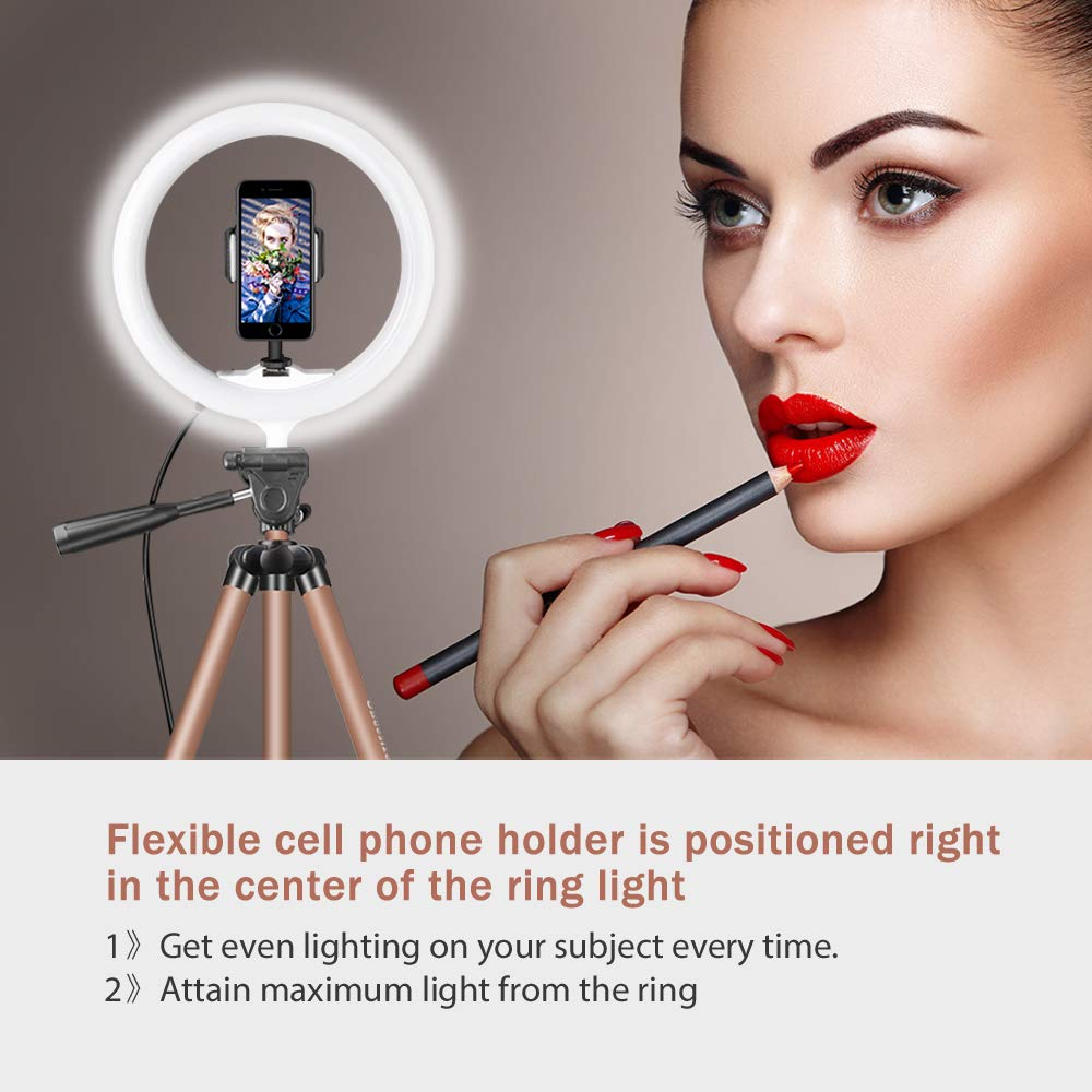 10'' Selfie Ring Light with 50'' Extendable Tripod Stand & Flexible Phone Holder for Live Stream/Makeup, UBeesize Mini Desktop Led Camera Ringlight for YouTube Video, Compatible with iPhone/Android by UBeesize (Image #5)