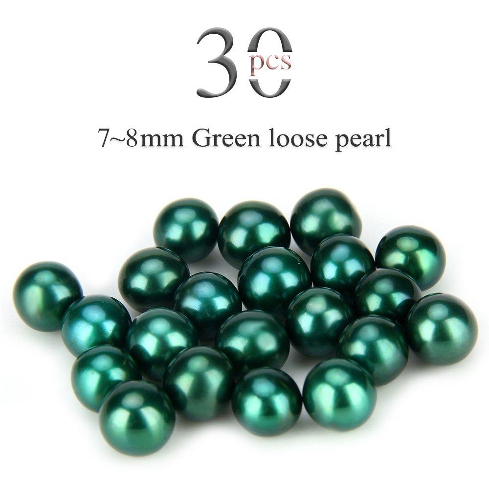 Loose Beads 7-8mm Akoya Round Cultured Saltwater 30PCS (Dark Green)