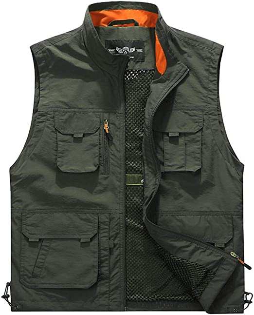 Gihuo Mens Casual Button Down Denim Vest Sleeveless Jean Jacket