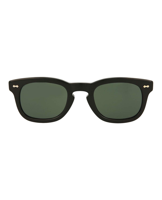 0ce6398e5c Amazon.com  Gucci GG 0182S 002 Black Plastic Square Sunglasses Green Lens   Clothing