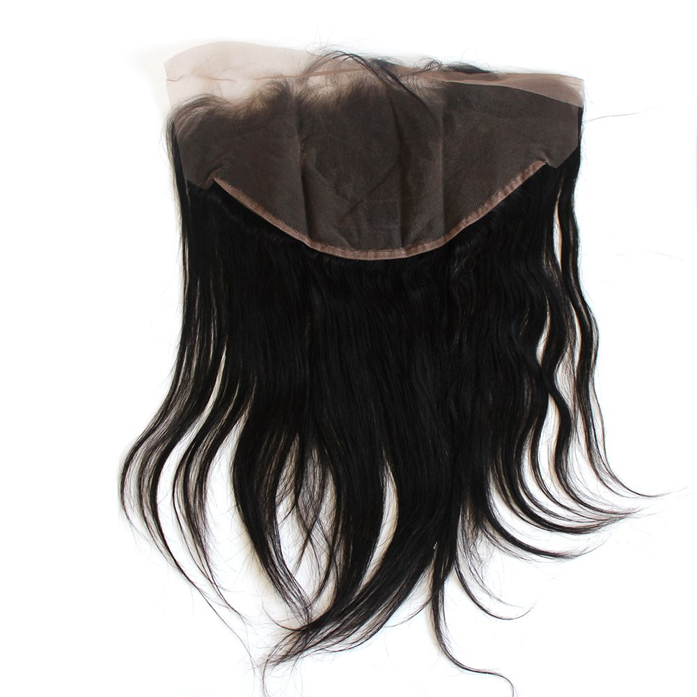 ZigZag Hair 13x6 Lace Frontal Closure Brazilian Virgin Human Hair Pre Plucked Natural Hairline Ear to Ear Full Lace Closure with Baby Hair Natural Color (18'', Straight)