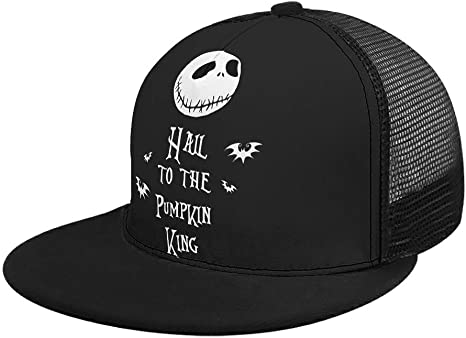 NiTIAN Nightmares Hail to the Pumpkin King Pattern adjustableMesh Back Trucker Hat for Men Women Sports Outdoor Before Christmas Nightmare