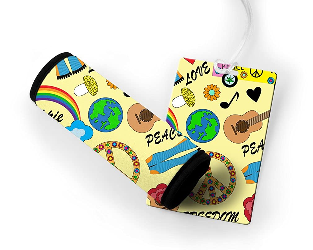 Hippie Love Peace Freedom Luggage Tag & Luggage Finder Wrap Set TAGLUGMIS090