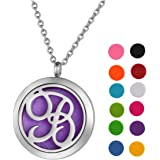 "SG Monogram Aromatherapy Essential Oil Diffuser Necklace A to Z Letter Locket Pendant with 24"" Chain + 12 Refill Pads"