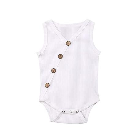 Amazon.com: Newborn Baby Girl Summer Cotton Sleeveless Romper ...