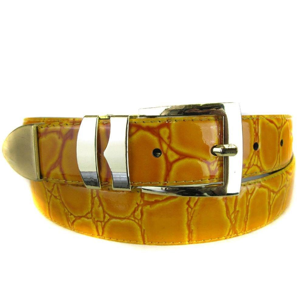 Yellow Bonded Alligator Skin High Quality Fashion Dress Belt