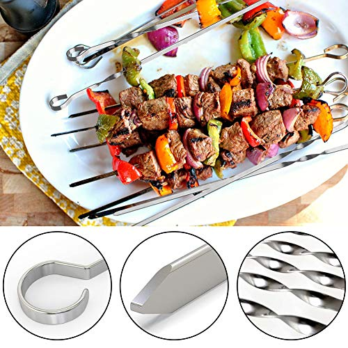 BigOtters Barbecue Skewer, 10PCS Flat Stainless Steel Sticks 16.8 inches Needle Sticks with Holder and 2 PCS Basting Brush for BBQ Baking Kitchen Outings Cooking Tools