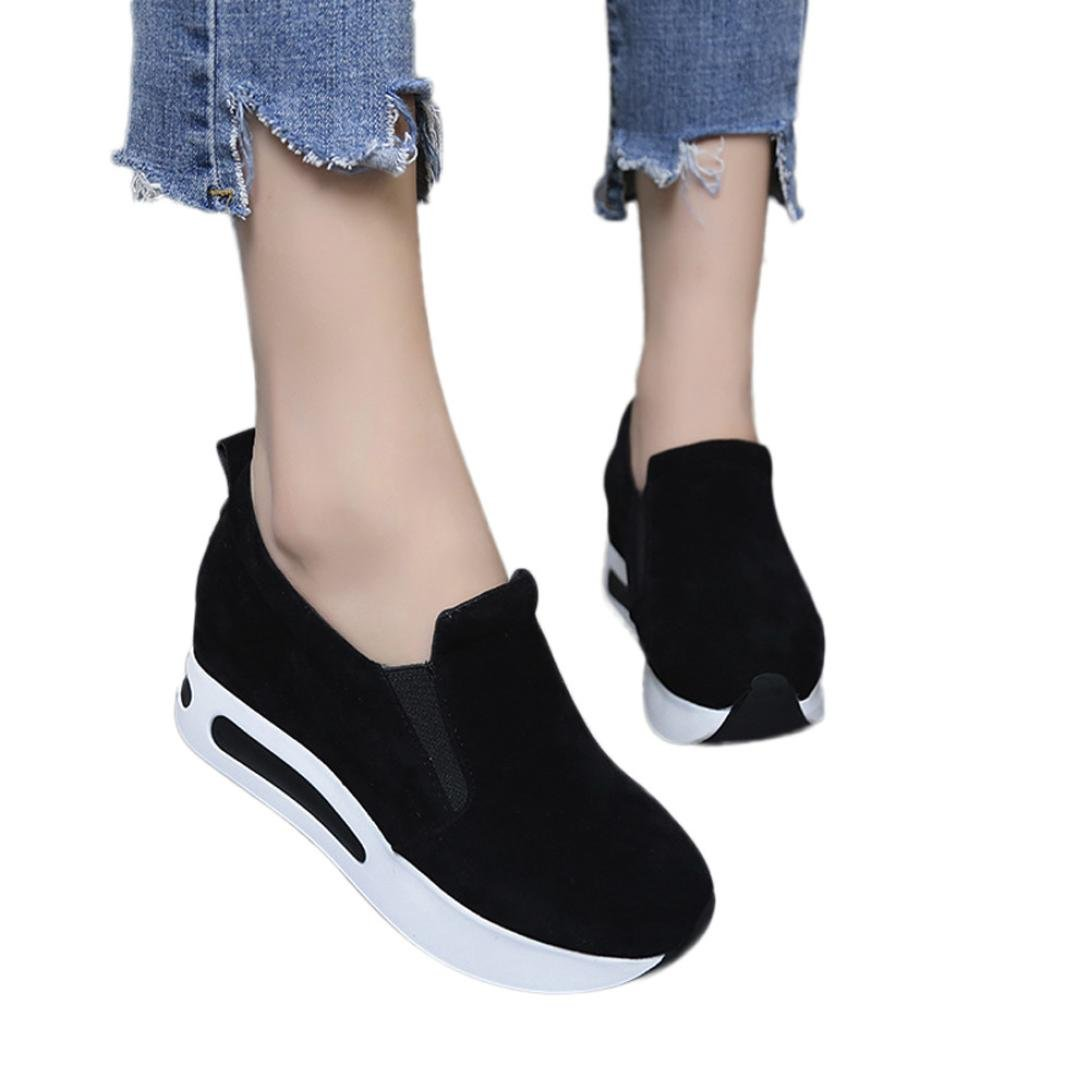 Fheaven Women's Sneaker Travel Shoes Slip-On Thick-soled Flock Casual Shoes Loafers (Black, US:8)