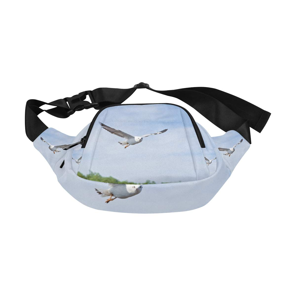 Common Gull Flying Above River Fenny Packs Waist Bags Adjustable Belt Waterproof Nylon Travel Running Sport Vacation Party For Men Women Boys Girls Kids