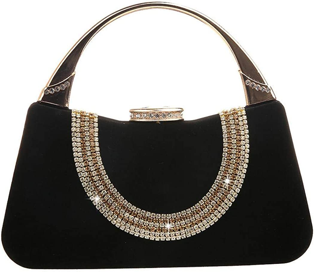 Evening Bag for Womens Charming Rhinestone Clutch Purse Top Handle Bag Shoulder Bag for Wedding Party
