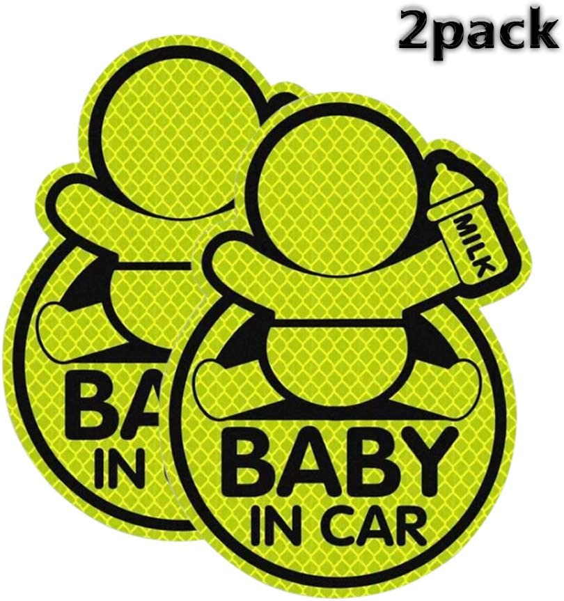 Window in All Weathers Baby on Board Sticker with Lovely Design 3.4in x 4.9in Baby Car Sticker Reflective Safety Sign Perfect for Bumper QBUC Baby in Car Sticker 2 Packs