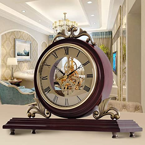 Amazon.com : Family Fireplace Clocks Desk Mute Wood S ó LIDA European Style Imitaci ó n MEC Watch á Nico for Living Room Clock Decoration ó n Suitable for ...