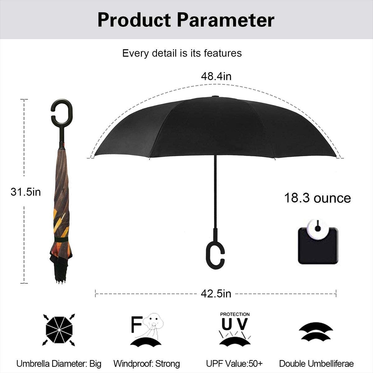 Car Reverse Umbrella,Thanksgiving Themed Pumpkins Many Shapes And Sizes In Hay Wooden Board Background,With C-Shaped Handle