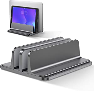 Bewahly Dual-Vertical Laptop Stand[Adjustable Size],Aluminum Adjustable Laptop Holder,Saving Space, Suitable for MacBook Pro/Air, iPad, Samsung, Huawei, Surface, Dell, HP, Lenovo and Others (Gray)