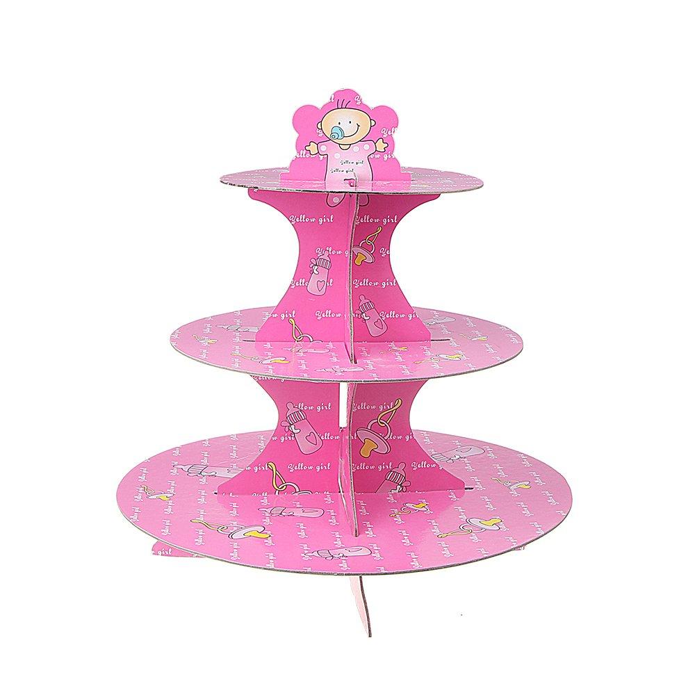 xhorizon TM SR 3-Tier Cupcake Stand, Blue Boy Cardboard Cake Cupcake Stand Dessert Treat Stand for Wedding Birthday Party