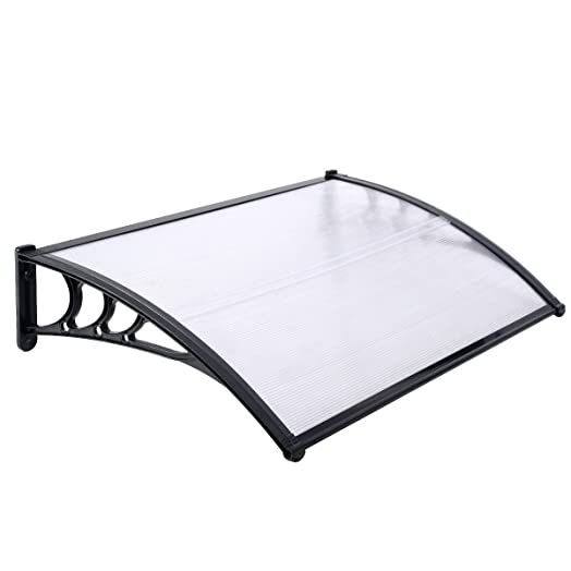Large Door Canopy Awning Shelter Front Back Porch Outdoor Shade Patio Cover Black