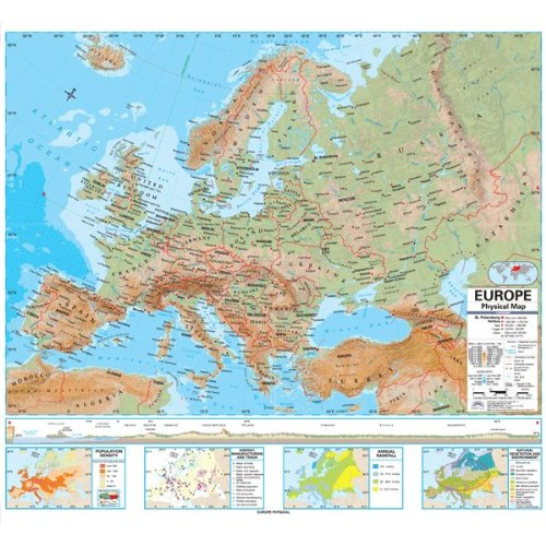 Europe Advanced Political Classroom Map on Roller w/ Brackets