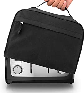 Hsonline 4 Slice Toaster Cover, with Zipper & Open Pockets Hold Spreader Knife & Toaster Tongs, Dust and Fingerprint Protection Kitchen Small Appliance Cover, Machine Washable, Black, 12.5x10x8 inches