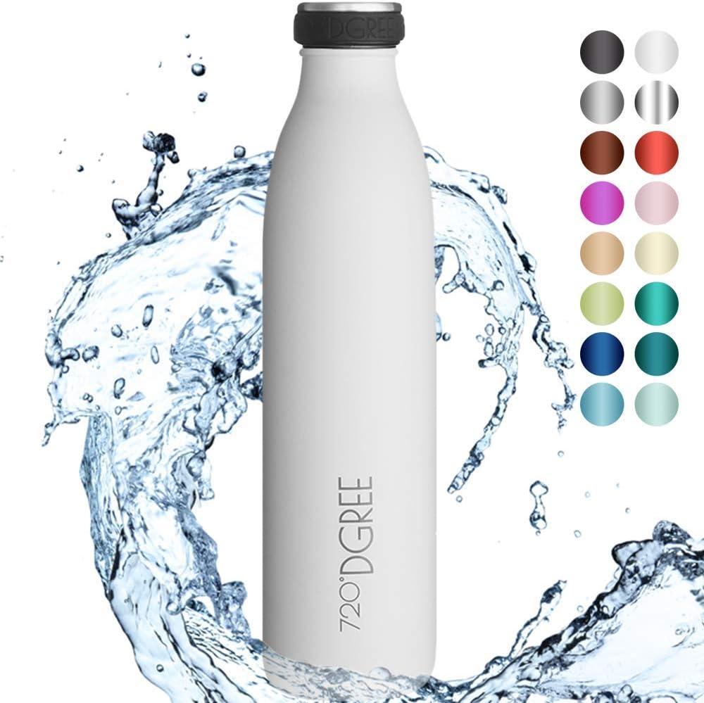 "720°DGREE Botella Agua Acero Inoxidable ""milkyBottle"" – 750ml - Sin BPA Free, Antigoteo y Prueba de Fugas - Frasco térmico, Cantimplora Aislada - Bebida con Gas, Deporte, Escuela, Gimnasio, Exteriore"