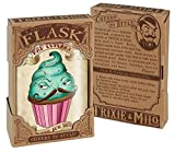 Bad Cupcake Funny Mustache Hipster Flask - 8oz Stainless Steel Flask - come in a GIFT BOX - by Trixie & Milo
