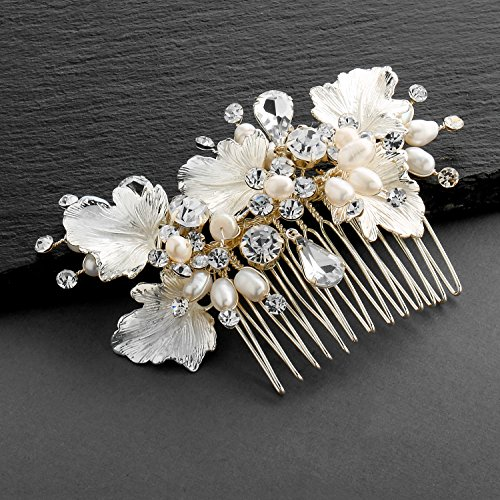 Mariell Couture Bridal Hair Comb with Hand Painted Gold Leaves, Freshwater Pearls and Crystals by Mariell (Image #5)