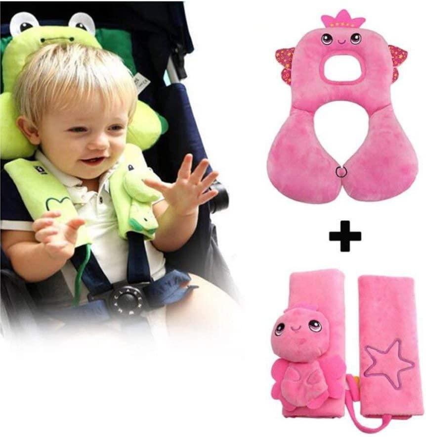 Pink Angel Kids Head Neck Support Baby Seat Belt Cover Set Baby Travel Headrest /& Seat Belt Protection Soft Cushion Shoulder Pads with Travel Pillow