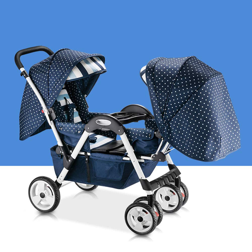 D RAQ Baby strollers twins stainless steel ultra-lightweight folding can sit can lie high landscape umbrella baby (color   D)