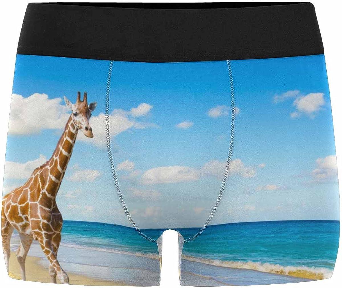 INTERESTPRINT Boxer Briefs Mens Underwear Giraffe XS-3XL
