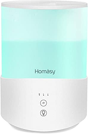 Homasy Top Fill Humidifier for Bedroom, Essencial Oil Diffuser, Air Humidifier With Customized Humidity & Timer, Touch and LED Display, 4.5L, White
