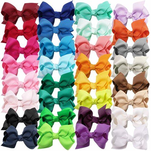 XIMA 3inch Hair Bows with Clip Grosgrain Ribbon Baby Knot Hairbow for Baby Girls Kids And Woman Pack of 32 (with alligator clip)