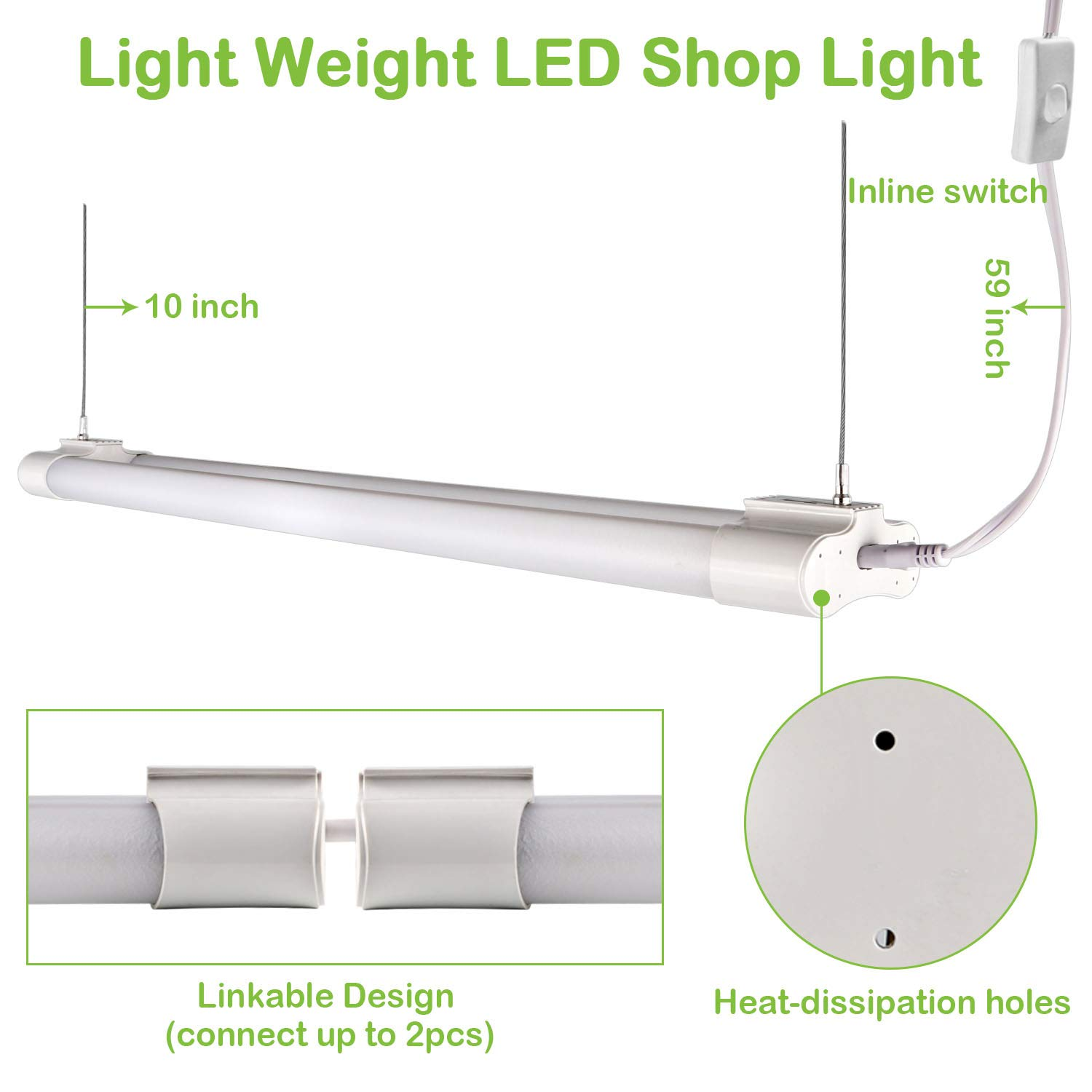 Hykolity 4ft 36w Linkable Led Shop Light With Cord 3600lm Hanging Wiring A Fluorescent Or Flushmount Garage 5000k Overhead Workbench Weight Shatter Proof