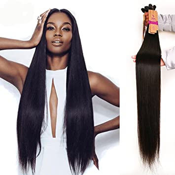 Amazon.com   RECOOL Brazilian Straight Hair 34 Inch One Bundle For Sale  Unprocessed Virgin Human Hair Extensions Natural Color (1 bundle 34 inch)    Beauty f00d45df3c0f