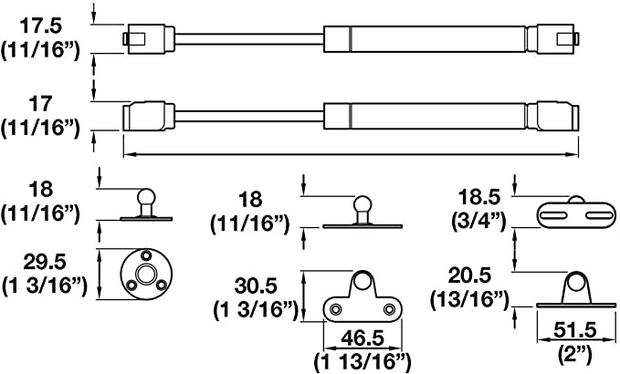 Gedotec Klappenfeder K/üchen-Schrank Klappenbeschlag Gasdruckfeder f/ür M/öbel-Klappen Gasdruckd/ämpfer 150 Nm L/änge 268 mm 1 Kompressionsfeder M/öbelbeschl/äge Komplett-Set mit Befestigungsmaterial