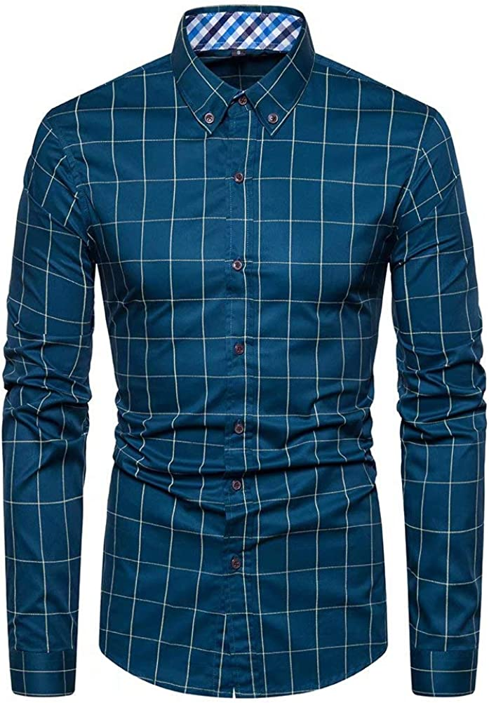 BEILU Men's Button Down Shirts Casual Plaid Regular Fit Long Sleeve Cotton