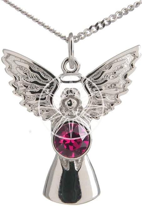 Sterling Silver 925 Swarovski Elements Crystal Heart Protective Guardian Angel Necklace 1D0v7edtgu
