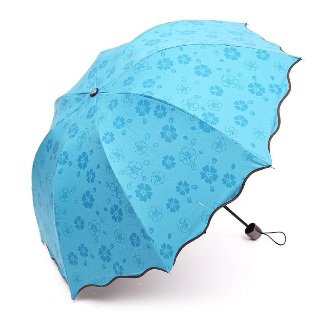Coromose Lady Princess Magic Flowers Dome Parasol Sun/Rain Folding Umbrella (Blue)