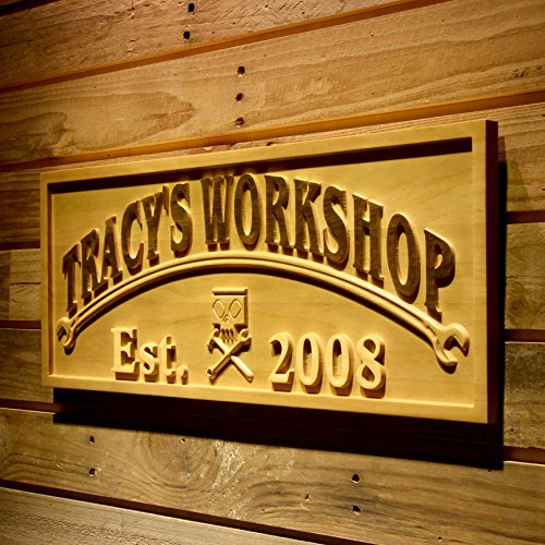 Personalized Workshop Sign (AdvPro Wood Custom wpa0427 WORKSHOP Name Personalized with Est. Year Wood Engraved Wooden Sign - Medium 18.25