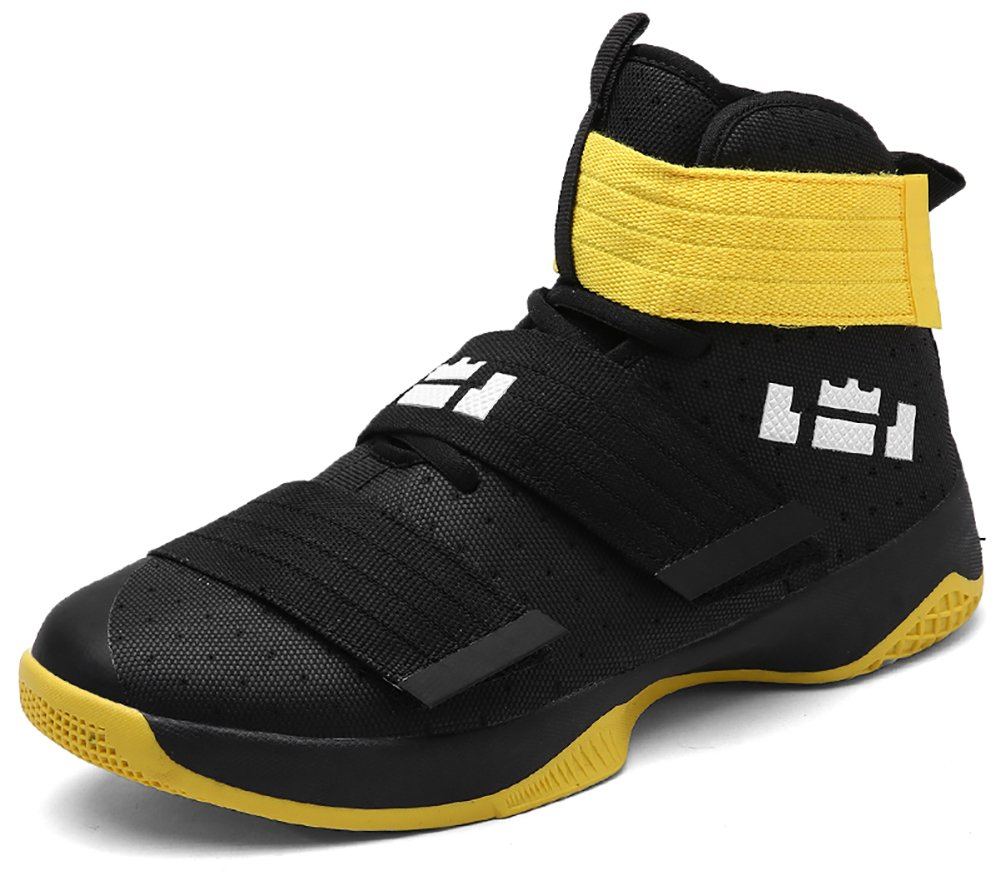 No.66 Town Couple Men's Women's High Top Running Shoes Fashion Sneaker,Basketball Shoes B077XY68FK (US)9.5 women's/8 men's|Black Yellow