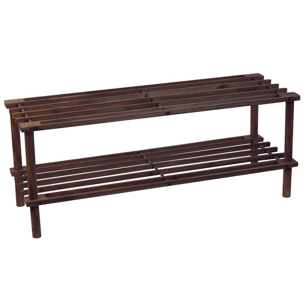 Home Vida 2-Tier Shoe Stand/Storage Organiser Rack, Slated Wood, Dark Oak by Home Vida