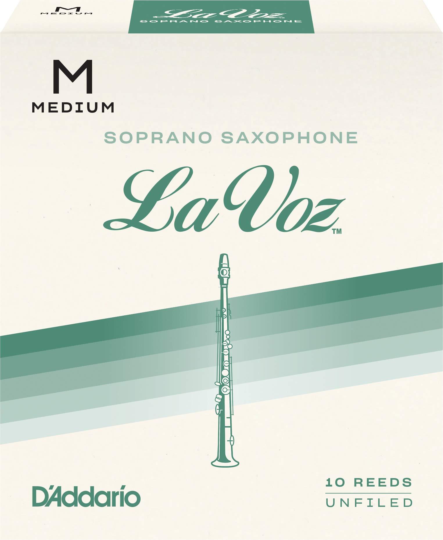 D'Addario Woodwinds La Voz Soprano Sax Reeds, Strength Medium, 10-pack - RIC10MD