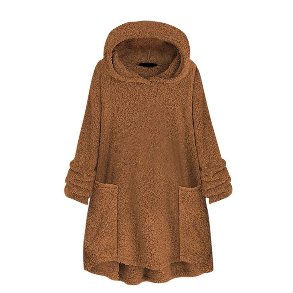 HebeTop Hooded Faux Fur Coats for Women Long Teddy Bear Jacket Fluffy Pullover Loose Sweater with Pocket Brown by HebeTop➟Women's Clothing