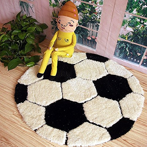 MZPRIDE Cute Cartoon Football Carpets Round Soccer Kids Rug Black And White Branded Mats