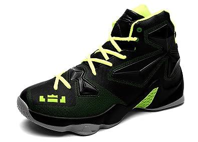 JiYe Performance Sports Shoes Men's Basketball Fashion Sneakers,Black  Green,6US-Men/