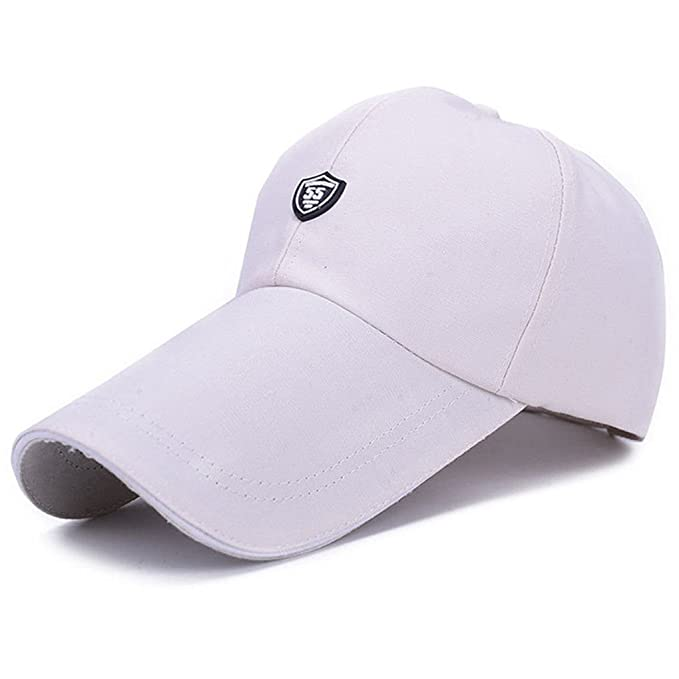 418e8e2c7c546 Llxln Tapón Deportivo Hombres Sombrero para Peces De Lona Exterior Sólida  Gorra Visera Larga Brim Sombra Sol De Verano Snapback Hat Papá Hat Gorras  Blanco ...