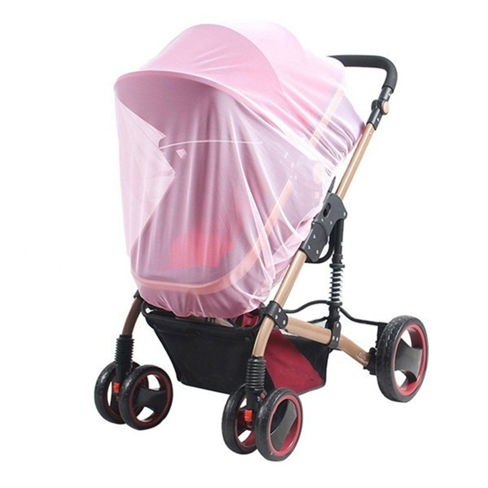 Gyswshh Universal Infants Baby Stroller Pushchair Cart Mosquito Insect Net Safe Mesh Pink