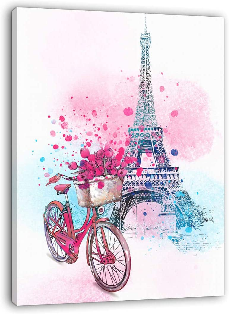 Paris Wall Decor Pink Wall Art for Girls Bedroom Decor Eiffel Tower Decor Modern Artwork for Walls Pink Flowers Bicycle Canvas Prints Wall Decoration for Bathroom Bedroom Kitchen Home Decor 16x24