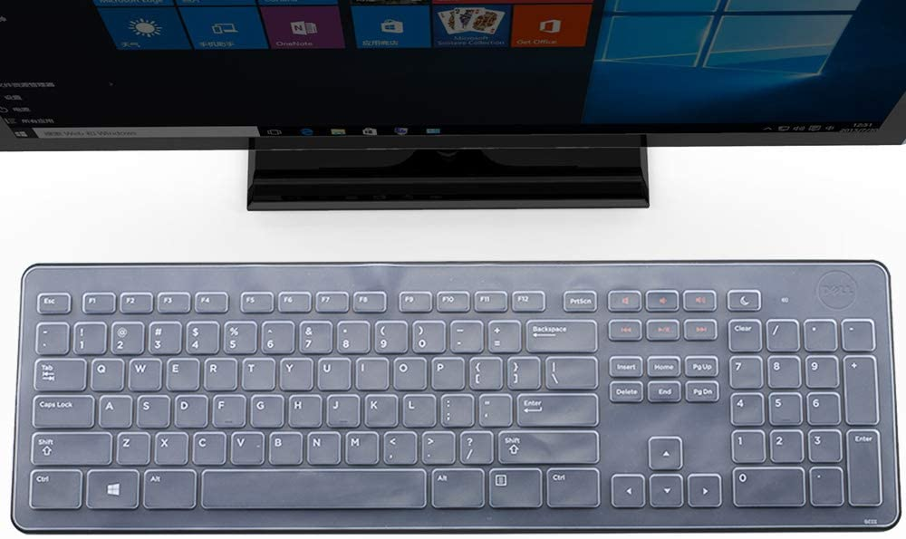 Ultra Thin Silicone Keyboard Cover for Dell KM632 Keyboard Desktop PC Keyboard Skin Protector, Dell KM632 Keyboard Accessories, Clear (US Layout)
