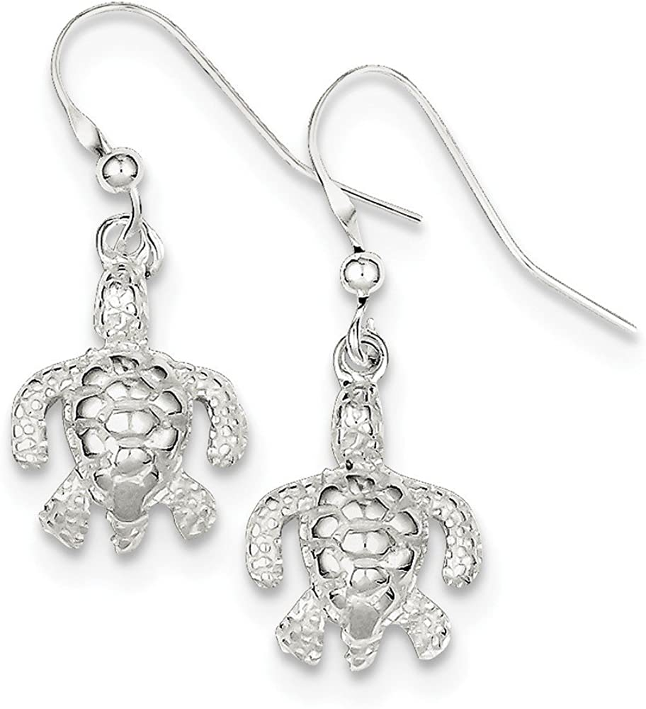 Sterling Silver Polished and Textured Turtle Dangle Earrings and a pair of 4mm CZ Stud Earrings